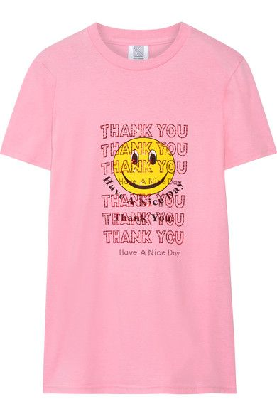 Rosie Assoulin - Thank You Swarovski Crystal-embellished Printed Cotton-jersey T-shirt - Pink - x large