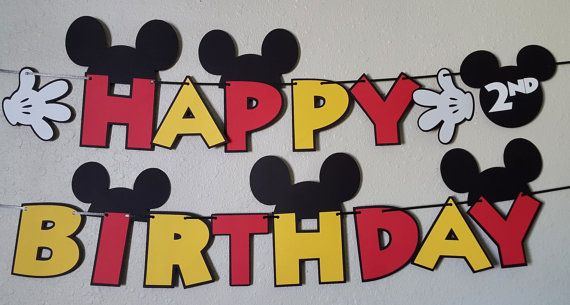 Your childs birthday party will be the Talk of the Town with this Mickey Mouse Clubhouse inspired birthday banner! This order is for a Mickey Mouse HAPPY BIRTHDAY banner, made with high quality cardstock. This particular banner is black, white, red and yellow. The colors can be changed to match your theme at no additional charge. Each letter is approximately 5.5. The curling ribbon on the end will be plenty long so you have enough to hang anywhere you please. You can also request 2 short…