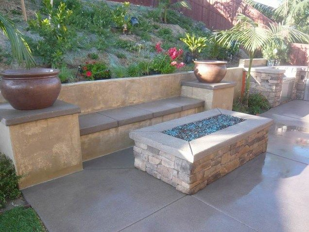 What More Can You Ask For Rectangular Fire Pit Built In Bench Seating And Planters On Top Of Pillars Quality Living Landscapes San Outdoor Faves