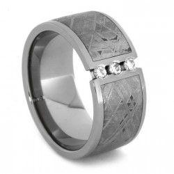 Moissanite Ring with 3 Tension Stones & Meteorite in Titanium