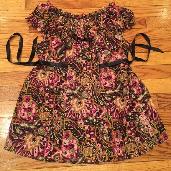 Weekend saleBetsy Johnson paisley tunic Paisley brown, pink, cream, green. Cap sleeves with a brown row back. Very cute! Betsey Johnson Tops Tunics