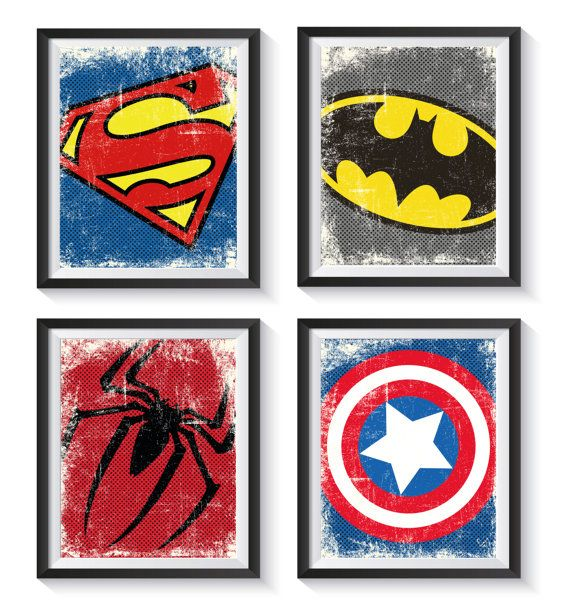 Decorate your little heros or big heros bedroom or playroom with these beautiful distressed, vintage style, superhero themed art prints.