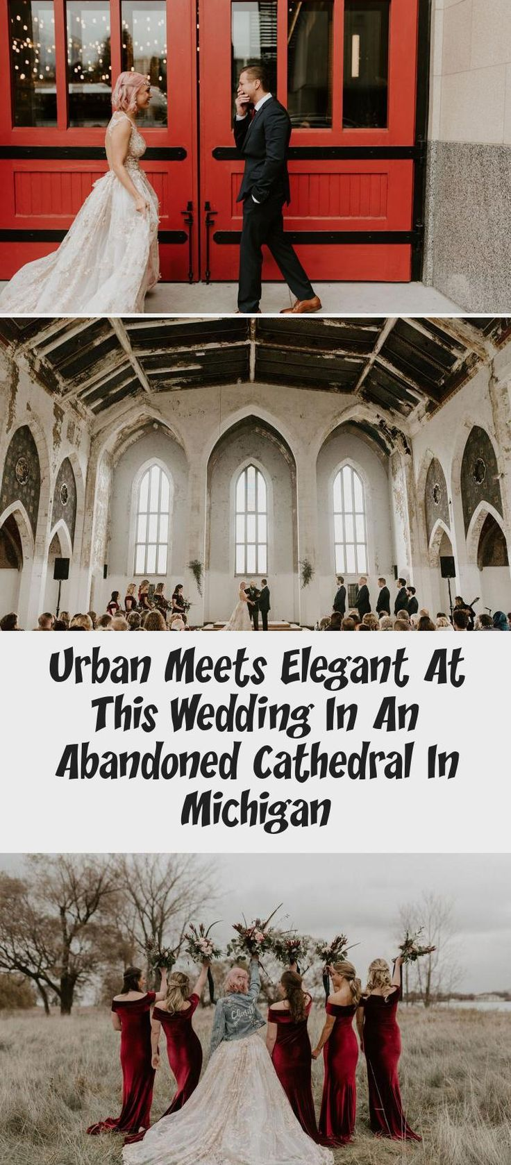Urban Meets Elegant at this Wedding in an Abandoned Cathedral in Michigan - Green Wedding Shoes #MixAndMatchBridesmaidDresses #BridesmaidDressesBeach #IvoryBridesmaidDresses #BridesmaidDressesMint #WeddingBridesmaidDresses