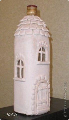 Декор предметов Лепка Дом из бутылки Краска Тесто соленое фото 5
