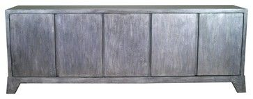 "Madden Five Door Tall Sideboard, Gray contemporary-buffets-and-sideboards;  Product Specifications  Manufactured By Madera Home   Sold By Madera Home   Width 96"", Depth 18"" Height 32""  Shipping Weight 3776 oz."