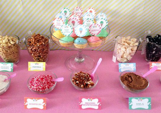 Toppings at an Ice Cream Party #icecream #diysundaes