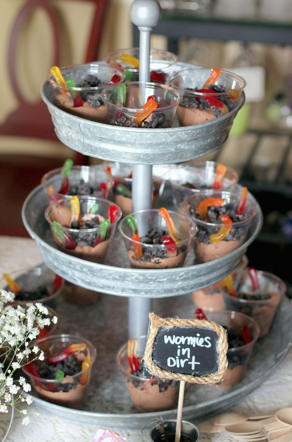 "Kids Garden Party Dirt Worms: I went for a more rustic yet girly feel and decorated with galvanized watering cans accompanied by lace and pink accents and plenty of flowers. For food, we put together ""ants on a log"" and caterpillar skewers made of green grapes — perfect for both the kids and adults. For party favors, we chose bamboo butterfly nets and mini clay pots, both from the dollar store, filled with flower seed packets and labeled ""I'm GROWing Up!"""