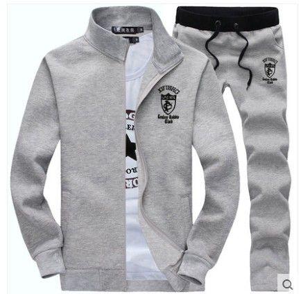 New 2015 Men Tracksuits Warm Thick Fleece Embroidery Zipper Cardigan Men Sportwear Casual Slim Sport Suit Set Sweatshirt+Pants