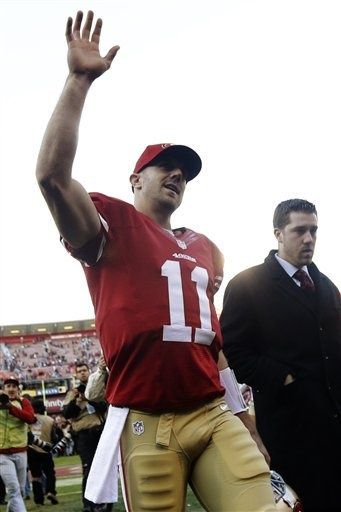 San Francisco 49ers quarterback Alex Smith (11) waves to the crowd at the end of an NFL football game against the Arizona Cardinals in San Francisco, Sunday, Dec. 30, 2012. San Francisco won won 27-13. (AP Photo/Marcio Jose Sanchez)
