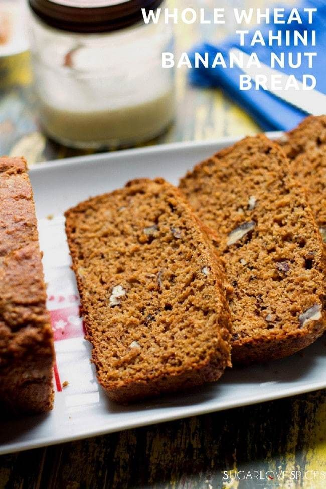 This Whole Wheat Tahini Banana Nut Bread is just loaded with good things!