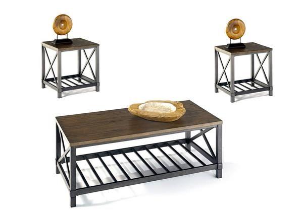 Oak Hill Transitional Wire Brushed Oak MDF Metal 3pc Coffee Table Set