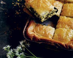 Spinach and wild garlic filo pie