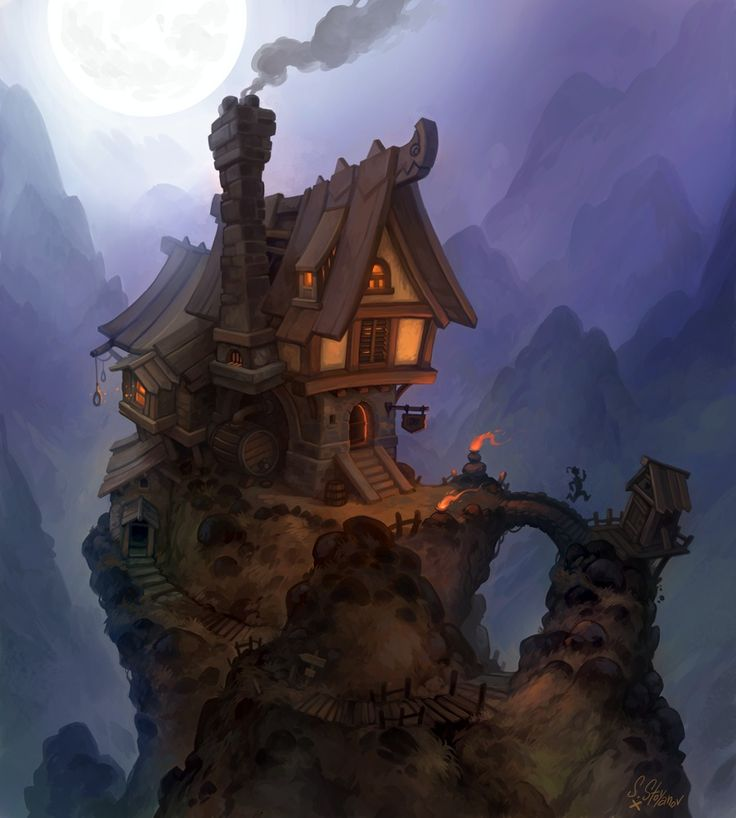 Misty Peak Tavern Picture  (2d, fantasy, architecture, tavern, landscape, night, moon)