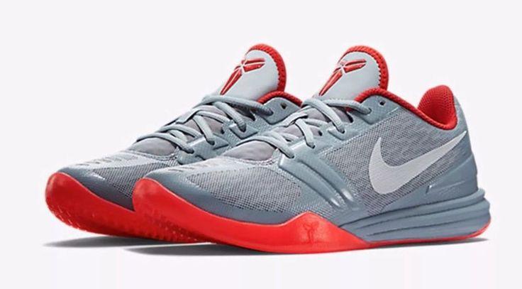 Nike 705387-007 KB Mentality Dove Gray Red Youth Basketball Shoes Size 7youth #Nike #BasketballShoes