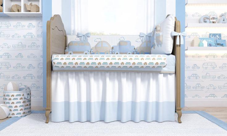 Um lindo cantinho para acalentar o sono do seu bebê! O Quarto de Bebê Carrinhos vai ficar uma graça no lugar mais especial da casa, misturando o azul e o bege na decoração do quarto de bebê!