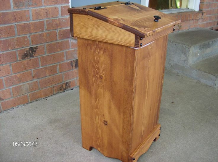 Pallet Furniture Plans >> NEW HANDCRAFTED WOOD WOODEN TRASH CAN - BIN | DECORATION + ACCESSORIES | Wooden trash can, Wood ...