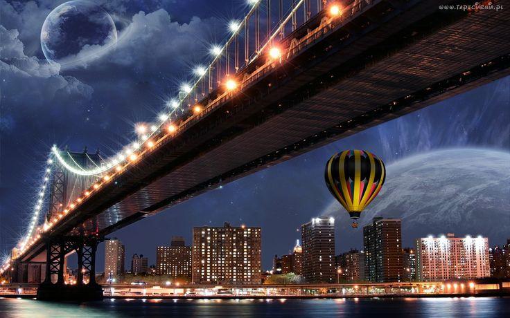 Miasto, Noc, Światła, Most, Balon