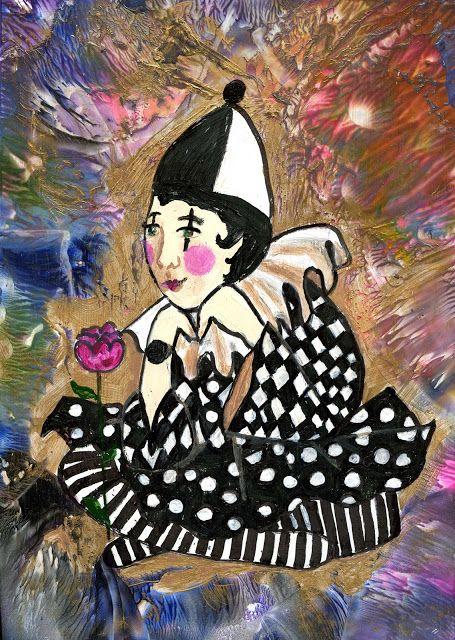 Harlequin/Circus/ Mixed media/ Encaustic art/ Marjatta Piironen