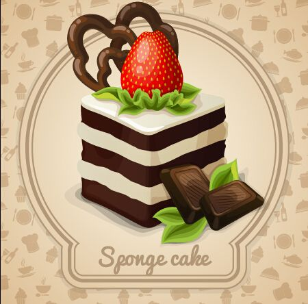 Cute cake card design vectors 02