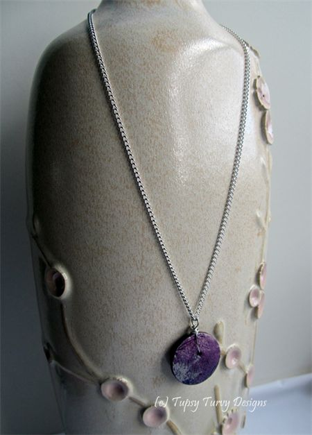 Pink purple and grey original art button pendant with silver plated chain.