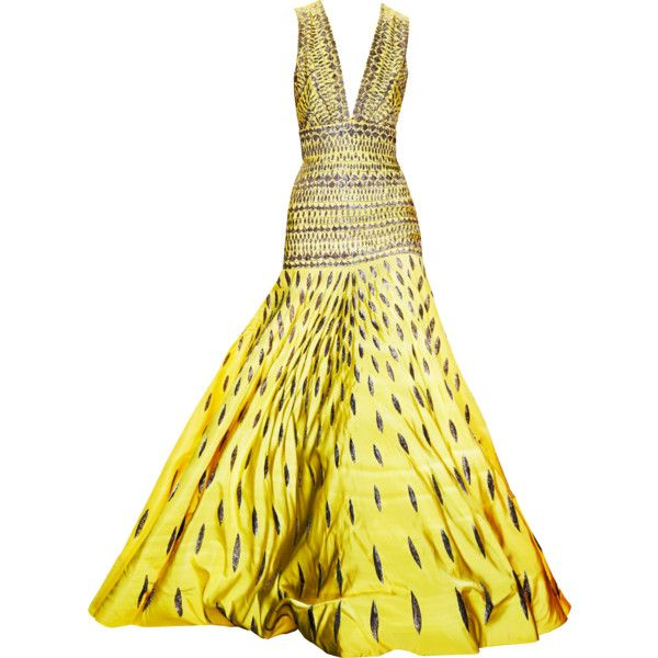 NAEEM KHAN ballgown ❤ liked on Polyvore featuring dresses, gowns, yellow, long dresses, vestidos, leaf dress, yellow ball gown, embroidered long dress, embroidery dresses and yellow evening gowns