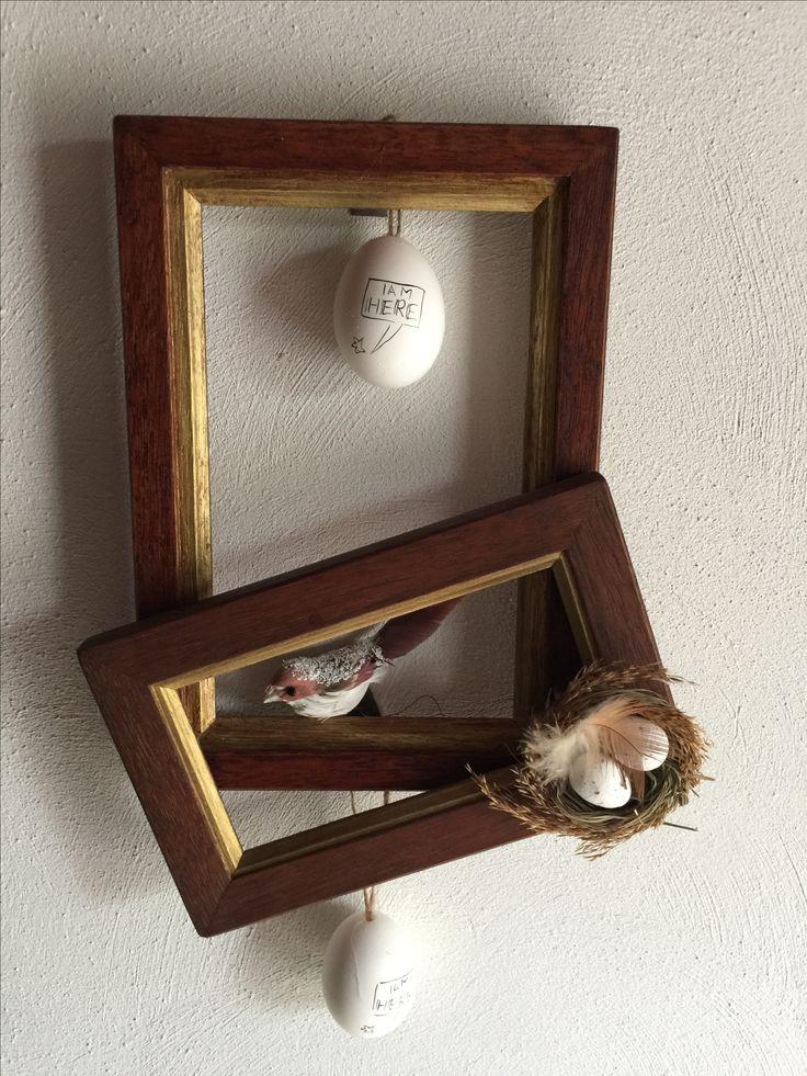 Oude handgemaakte #fotolijstjes #paasdecoratie
