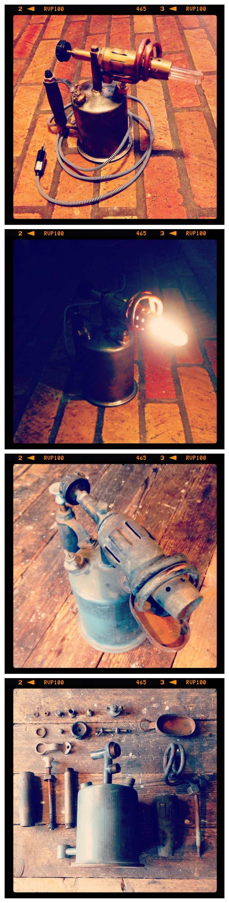 "COPPER UPCYCLING CONTEST / PARTICIPANT #25 : LAMPE ""RETRO STYLE"" // Péter a transformé un chalumeau composé de laiton en une lampe de bureau à l'esprit industriel - ""Likez"" pour participer au choix du prix du public ! / Péter transformed a brass blow torch into an industrial looking desk lamp = cool! - ""like"" in order to participate to the public's choice price! #upcopper #copper #cuivre"