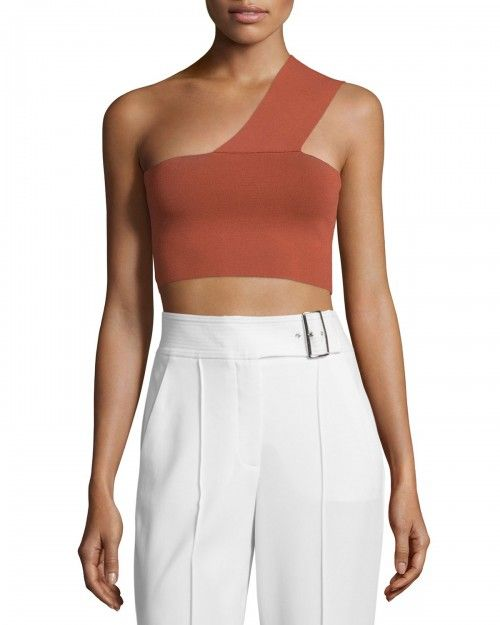 a+L+C+Georgia+One+Shoulder+Crop+Top+Rust+Red+Women's+|+Clothing