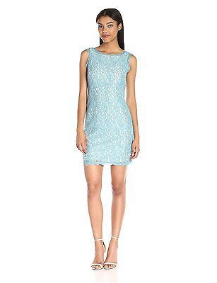 6 (US Size) (US Size), Turquoise/ivory, Adrianna Papell Women Lace Body Con Slee