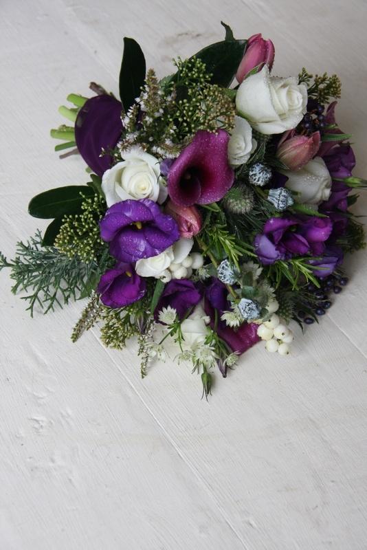 The Flower Magician: Cadbury's Purple Christmas Wedding Bouquet