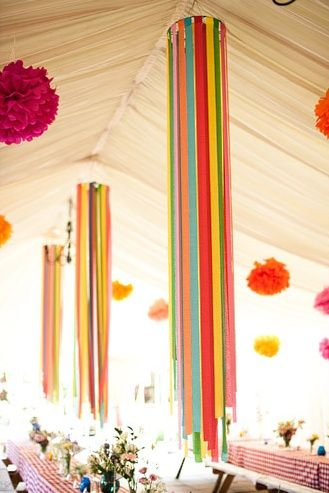 Of course not these colors. Instead of whatever is hanging on this tent make it crystal chandeliers the long round ones