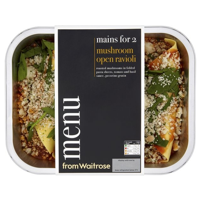 Ocado: Menu from Waitrose Mushroom Open Ravioli (Product Information)