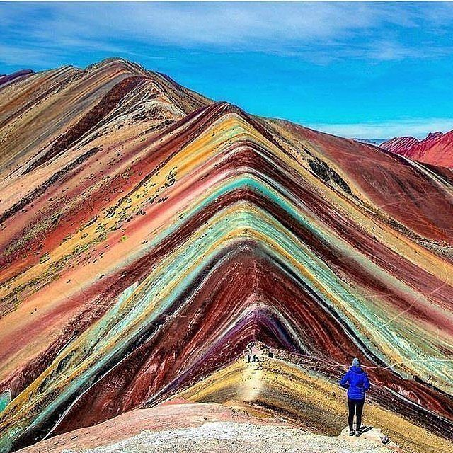 Rainbow Mountain, Vinicunca, #Peru. Photo by @tayzertravels. Tag who you'd go here with. #earthfever