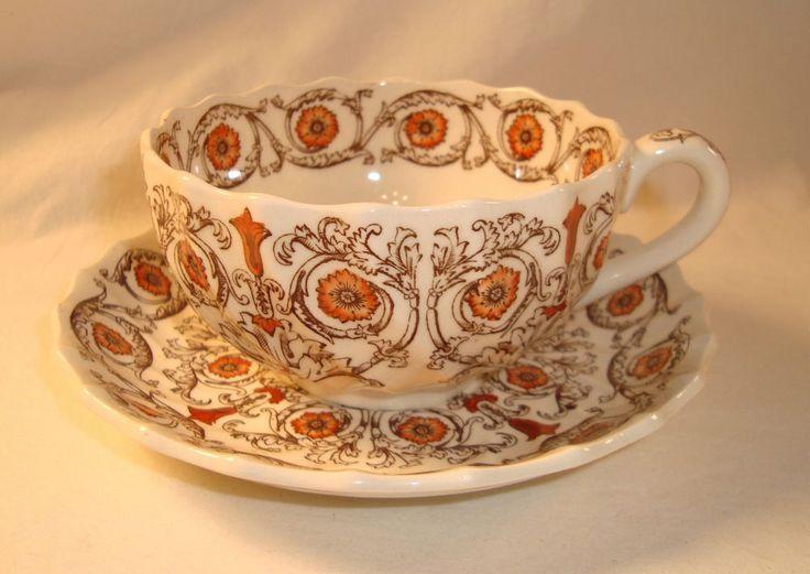 copeland spode sorrento tea cup u0026 saucer set brown orange china