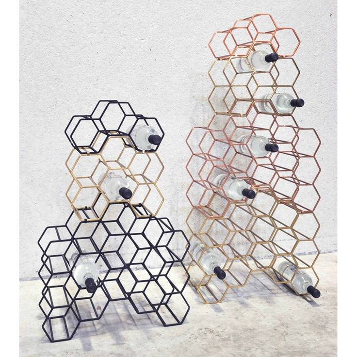 Pico 15 Stackable Wine Rack - Brass - XLBoom honeycomb wine store