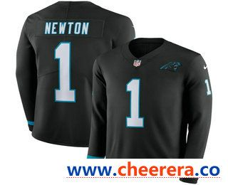 Men s Carolina Panthers  1 Cam Newton Nike Black Therma Long Sleeve Limited  Jersey 7ad7dd877