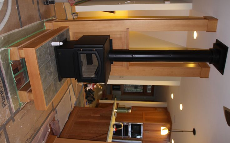 wood stove on elevated hearth