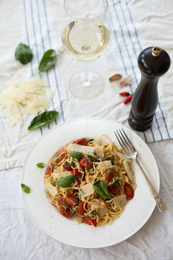 Tagliarini Pasta with Chilli, Garlic & Cherry Tomatoes by What To Cook Tonight