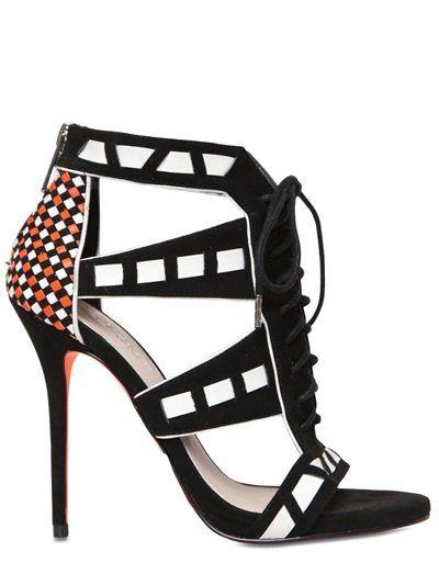 Carvela Kurt Geiger 120mm Faux Suede Lace-up Sandals