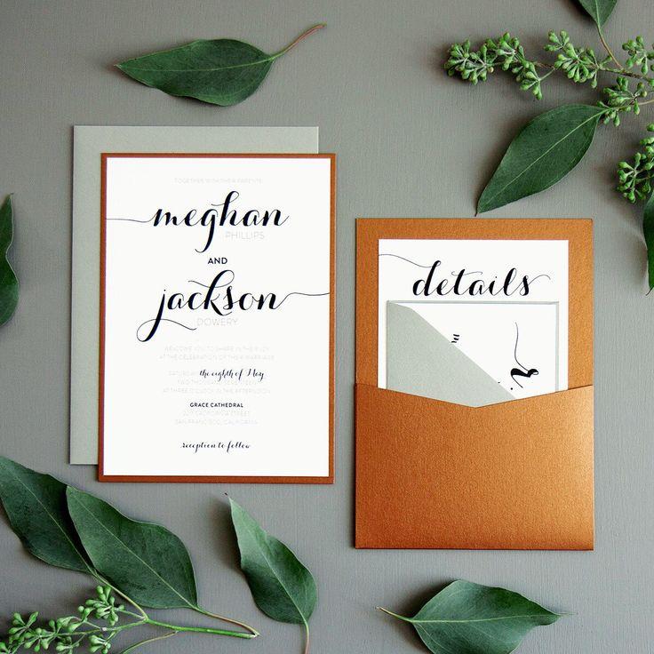 Modern Script wedding invitation suite shown in copper and grey.