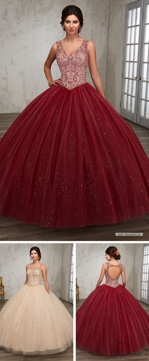 Mary's Quinceanera Style 4Q511 • Sparkling tulle quinceanera ball gown with beaded bodice, basque waist line, V-neck, and back with cut-out and zipper closure.