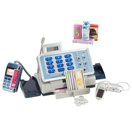 Just Like Home Talking Cash Register - Blue by RJ Quality Products. $40.00. This Just Like Home 28-Piece Talking Cash Register includes a working calculator, hand-held scanner, credit card scanner, and a pretend microphone. Your child will learn early money concepts and can pretend to ring up groceries with the hand-help scanner!Toys'R'Us exclusive Just Like Home pretend play kitchens, grocery and restaurant toy play sets give your kids everything they need to become th...