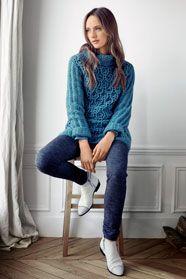 dámský ručně pletený svetr z příze Natura