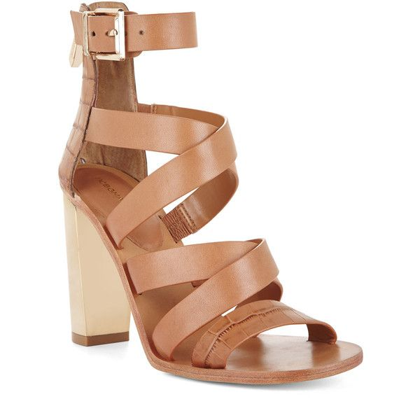 BCBGMAXAZRIA East Strappy High-Heel Day Sandal ($177) ❤ liked on Polyvore featuring shoes, sandals, tan, tan shoes, toe-strap sandals, high heel sandals, strap sandals and crocodile shoes