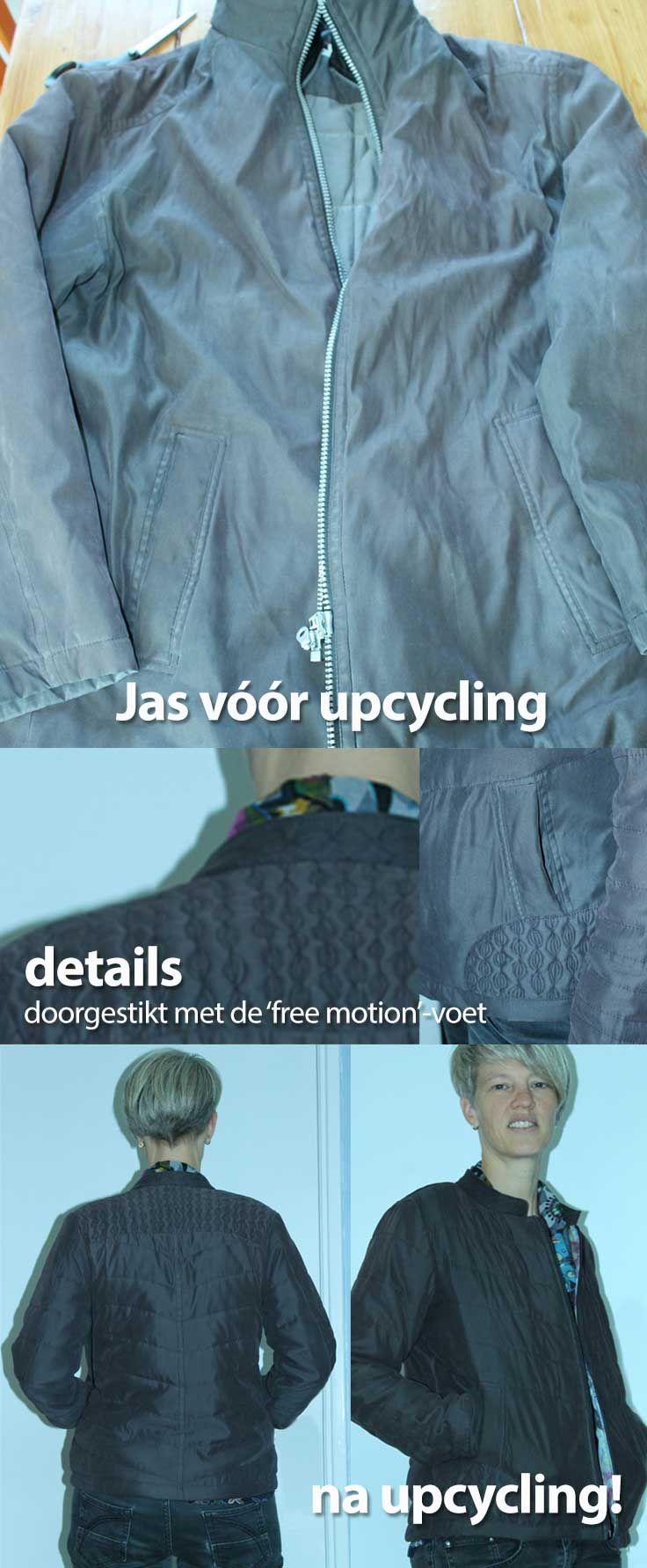 Upcycling van een oude grijze winterjas tot een hip gewatteerd jasje. Doorgestikt met free-motion stitching.