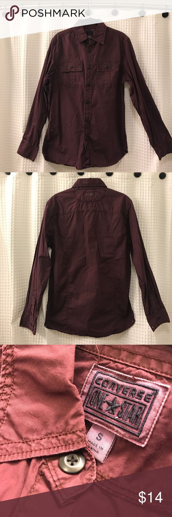 Converse One Star Men's Burgundy Collared Shirt -S Converse One Star Men's Dark Burgundy Collared Shirt - Size Small Converse Shirts Dress Shirts