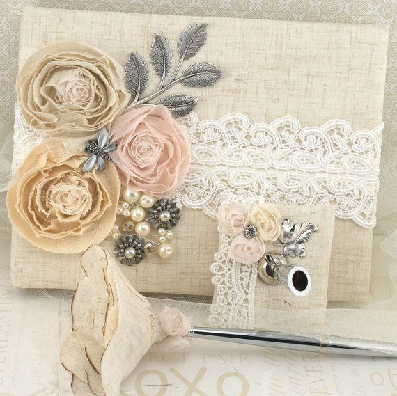 Wedding Guest Book and Pen Set Shabby Chic Vintage Inspired in Blush Pink, Ivory and Nude with Linen and Lace via Etsy