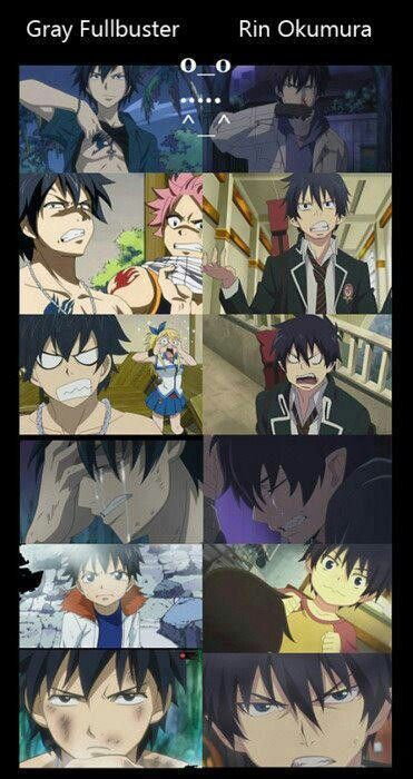 Gray and Rin. I noticed right from the start of Fairy Tail he resembled Rin way too much lol Doesn't matter, they're both really awesome characters.
