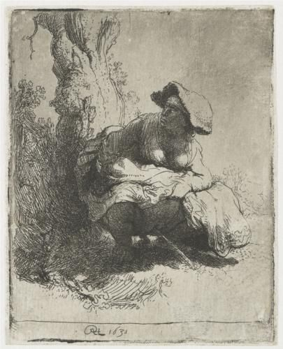 A woman making water - Rembrandt