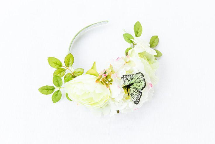 KIsForKani @ Etsy, Light Green Peony Butterfly Headpiece ($90.00)